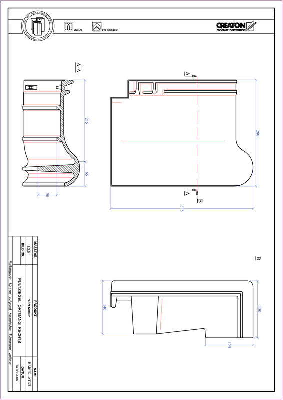 Produkt CAD-Datei PREMION Pultziegel Ortgang rechts PULTOGR