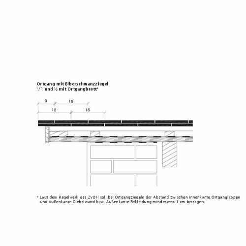 Produkt technische Zeichnung KLASSIK OBL Ortgangausbildung-mit-Biberschwanzziegeln-1-1-2-Ortgangbrett