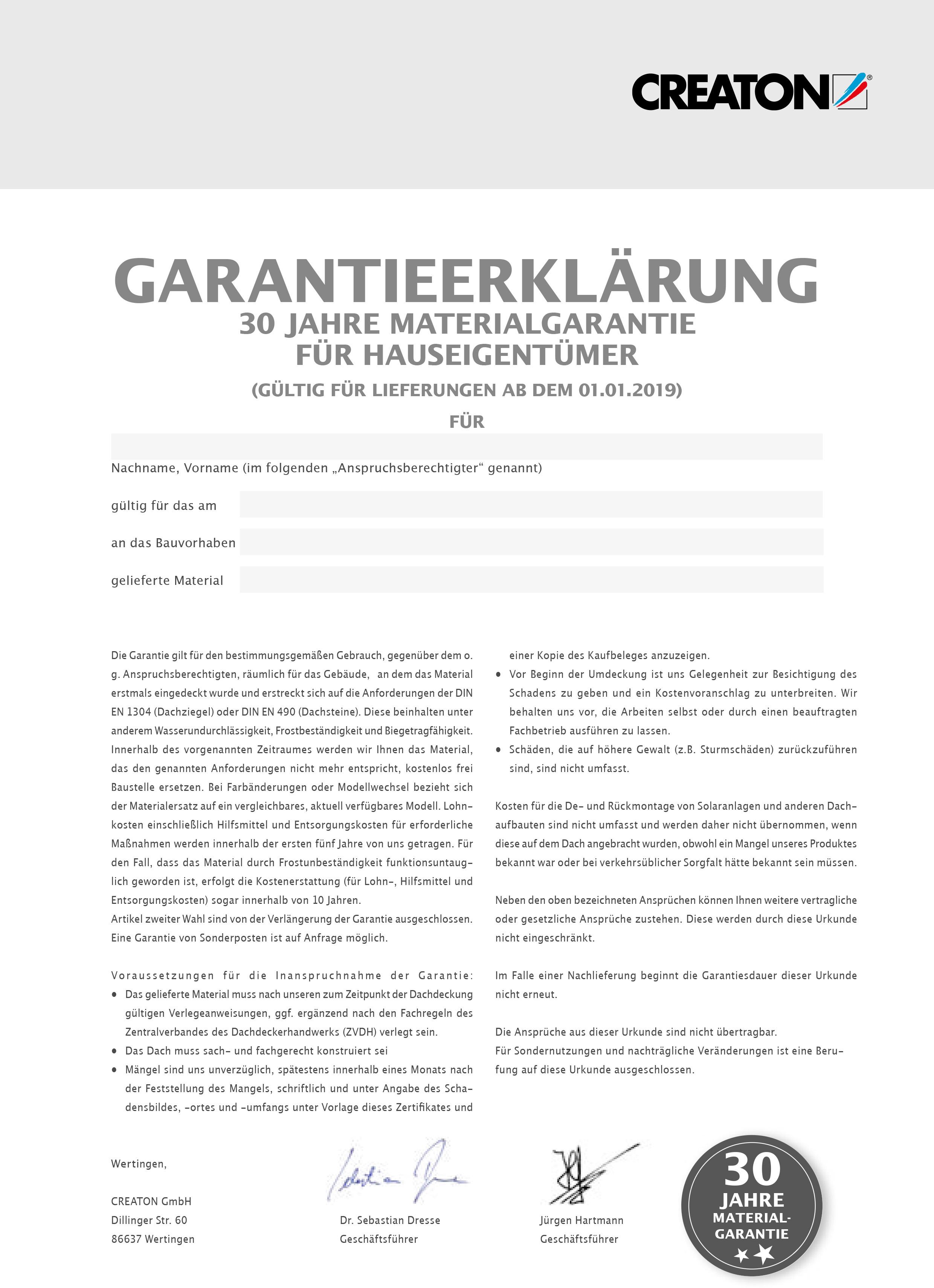 Garantieerklärung CREATON