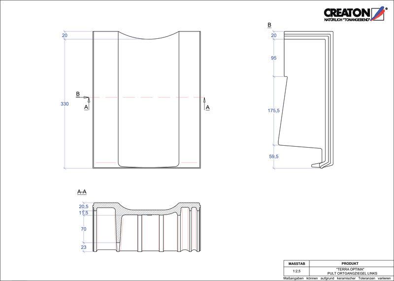 Produkt CAD-Datei TERRA OPTIMA Pultziegel Ortgang links PULTOGL