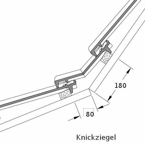 Produkt technische Zeichnung CANTUS Knickziegel KNZ