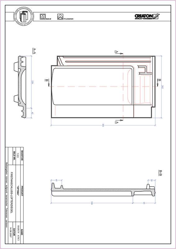 Produkt CAD-Datei TERRA OPTIMA Firstanschlusslüfterziegel FALZ