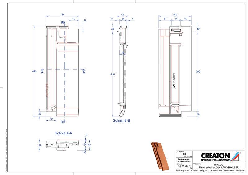Produkt CAD-Datei MIKADO Firstanschlusslüfter Längshalber FALLH