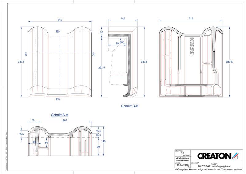 Produkt CAD-Datei MZ3 NEU Pultziegel Ortgang links PULTOGL