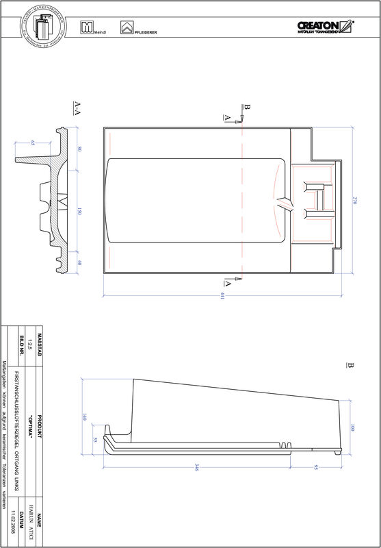 Produkt CAD-Datei TERRA OPTIMA Firstanschlusslüfter Ortgang links FALOGL