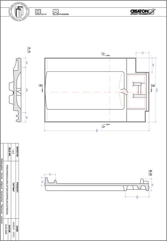 Produkt CAD-Datei TERRA OPTIMA Firstanschlusslüfter Doppelwulstziegel FALDWZ