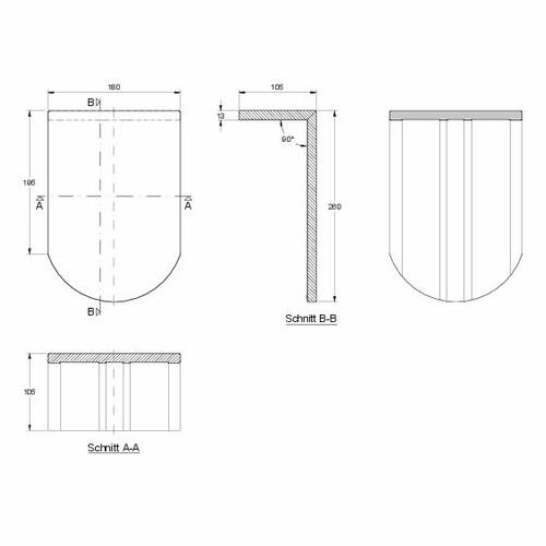 Produkt technische Zeichnung KLASSIK PULT-kurz