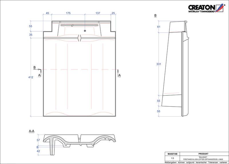 Produkt CAD-Datei BALANCE Firstanschlusslüfter Ortgang links FALOGL