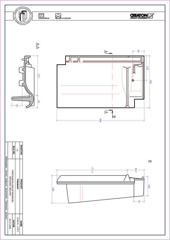 Produkt CAD-Datei PREMION Firstanschlusslüfter Ortgang rechts FALOGR