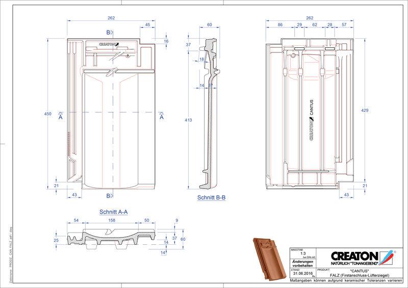 Produkt CAD-Datei CANTUS Firstanschlusslüfterziegel FALZ