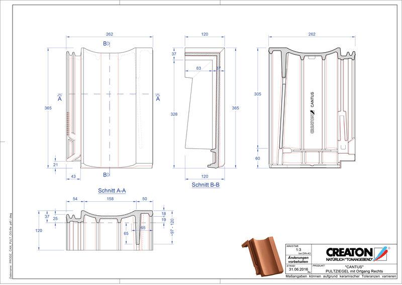 Produkt CAD-Datei CANTUS Pultziegel Ortgang rechts PULTOGR