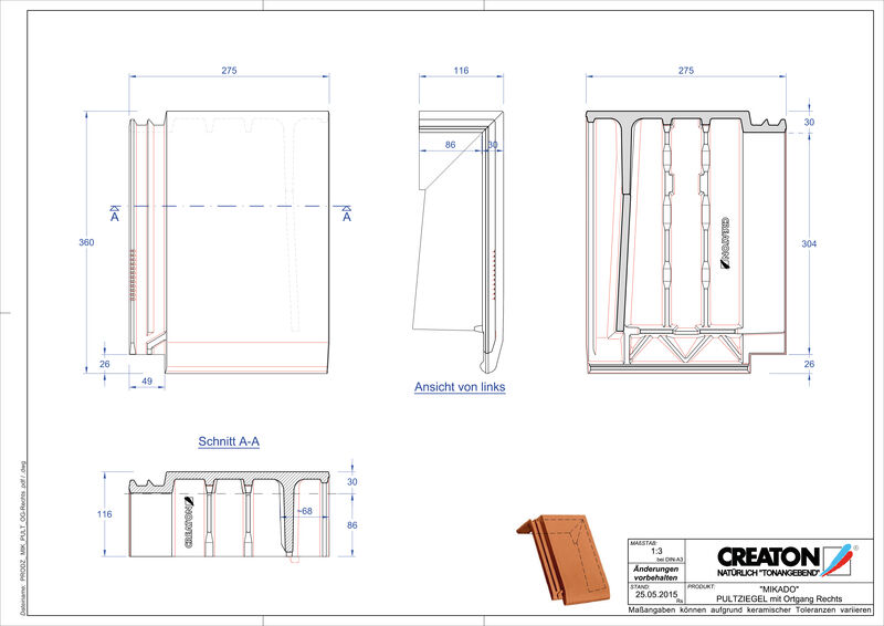 Produkt CAD-Datei MIKADO Pultziegel Ortgang rechts PULTOGR