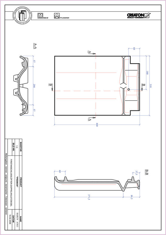 Produkt CAD-Datei PREMION Firstanschlusslüfter Doppelwulstziegel FALDWZ