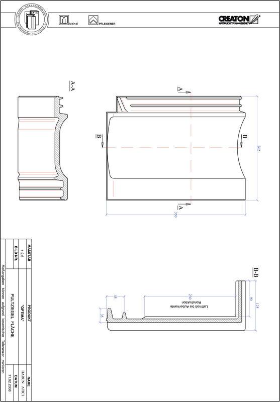 Produkt CAD-Datei TERRA OPTIMA Pultziegel Fläche PULTFLA