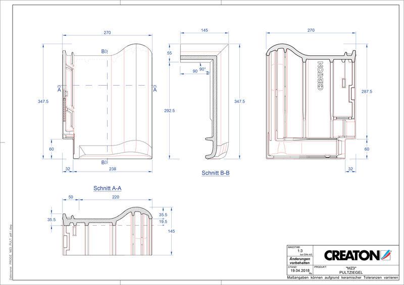 Produkt CAD-Datei MZ3 NEU Pultziegel PULT