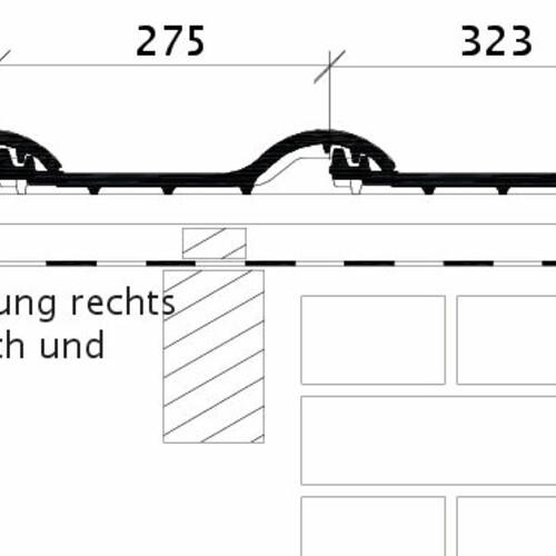 Produkt technische Zeichnung BALANCE OG rechts mit Ortgangblech und Flächenziegel OFR